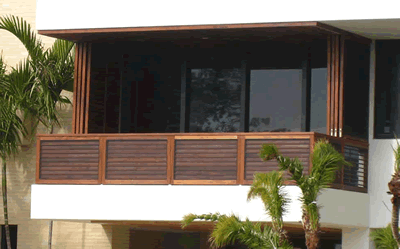 teak shutter with screen