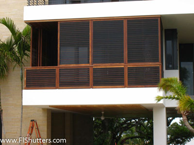 exterior teak shutter with built in screen