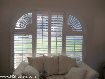 custom shape interior shutter